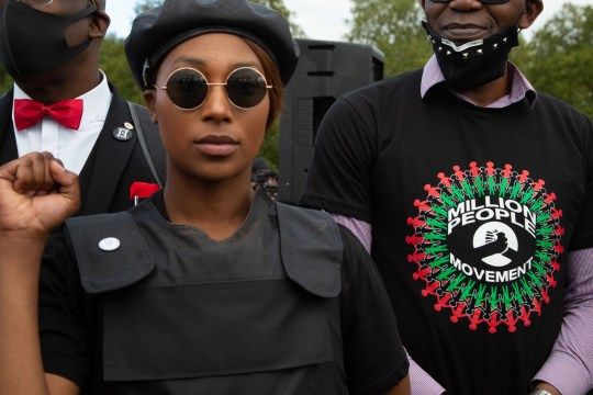 Sasha Johnson Co-organiser of the Million People March and Black Lives Matter activist takes part during the demonstration. Organisers say the Million People march is intended to revive the original spirit of the carnival, which began as an attempt to resolve racial tensions in the capital. (Photo by Thabo Jaiyesimi / SOPA Images/Sipa USA)