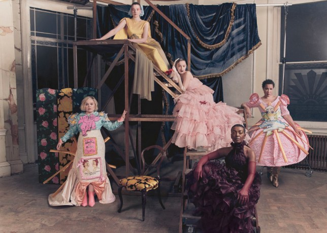 EMBARGOED TO 1400 WEDNESDAY DECEMBER 30 Undated handout photo issued British Fashion Council of (left to right) Nicola Coughlan wearing Edward Mendoza, Claudia Jessie wearing Shanti Bell, Phoebe Dynevor wearing Aurelie Fontan, Adjoa Andoh wearing Aurelie Fontan and Golda Rosheuvel wearing Edward Mendoza. Netflix has partnered with the British Fashion Council to commission up-and-coming designer to create regency garments inspired by its new hit series Bridgerton. PA Photo. Issue date: Wednesday December 30, 2020. See PA story SHOWBIZ Bridgerton. Photo credit should read: British Fashion Council/PA Wire NOTE TO EDITORS: This handout photo may only be used in for editorial reporting purposes for the contemporaneous illustration of events, things or the people in the image or facts mentioned in the caption. Reuse of the picture may require further permission from the copyright holder.