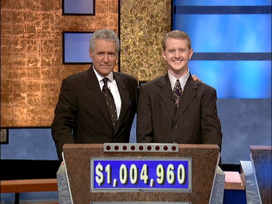 Alex Trebek with Ken Jennings on Jeopardy!