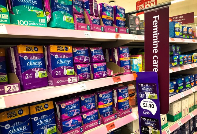 VAT will not be charged on tampons and pads from today