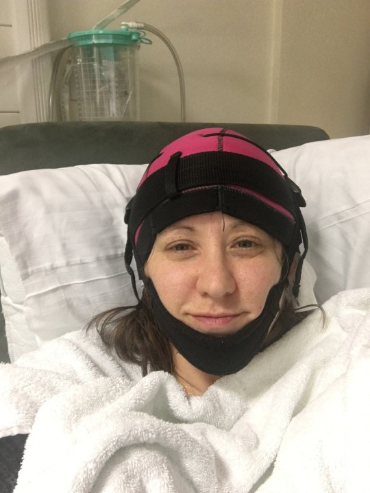 Louise Ben-Nathan, 43, wearing a cold cap before having her cancer treatment