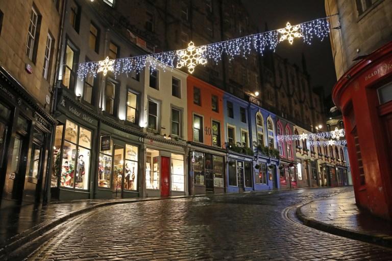 An empty Victoria Street  in Edinburgh