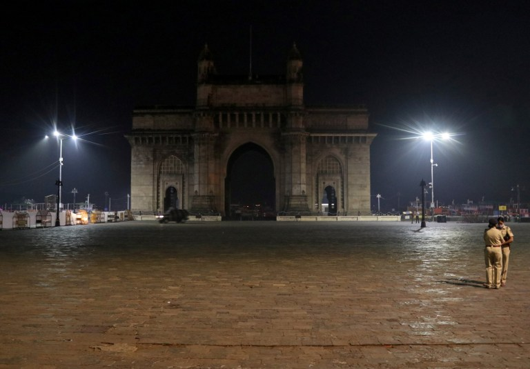 A view of the Gateway of India monument during a curfew to restrict large gatherings amid the spread of the coronavirus disease in Mumbai, India,