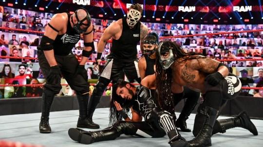 WWE RETRIBUTION superstars T-Bar, Slapjack, Reckoning, Mace and Mustafa Ali