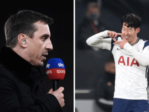 Gary Neville criticises Arsenal duo Gabriel and Thomas Partey after Son Heung-min's stunning goal for Tottenham