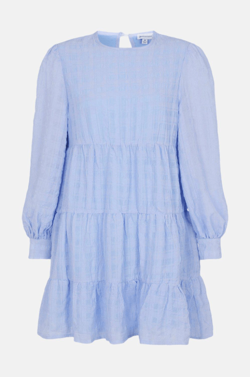 Baby blue checked mini dress from Warehouse