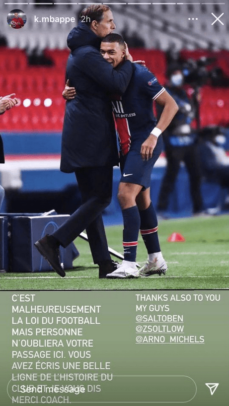 Kylian Mbappe sent a message to Thomas Tuchel on Instagram
