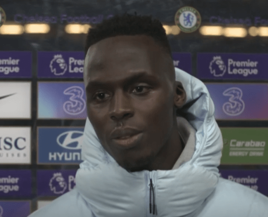Edouard Mendy speaks with Chelsea TV after the draw with Aston Villa