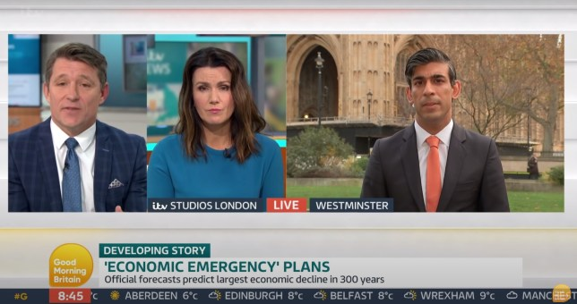 Ben Shephard, Susanna Reid and Rishi Sunak on good morning Britain