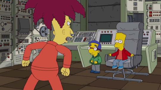 Bart Simpson, Milhouse and Sideshow Bob in The Simpsons.