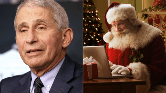 Dr Anthony Fauci and a file photo of Santa Claus