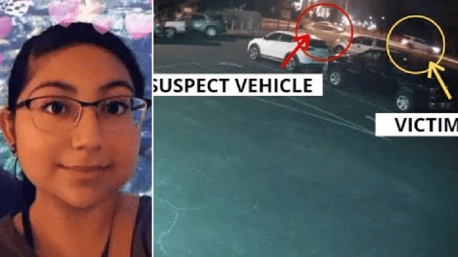 Miranda Lopez and still of her car being chased by road rage killer