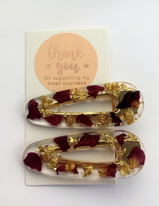 Gold and wine flecked clips