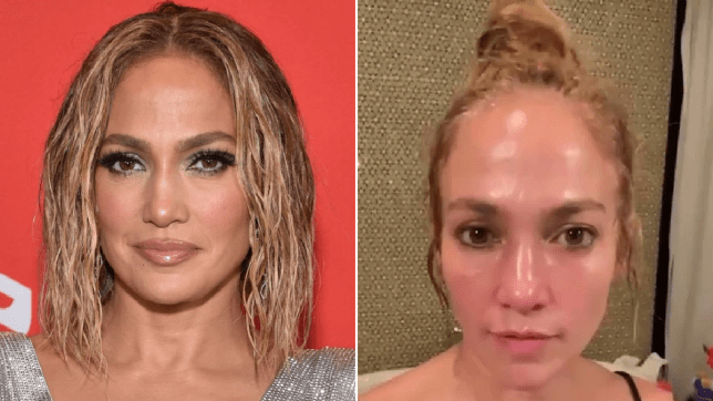 Jennifer Lopez with and without glamorous makeup