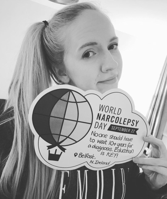 Christine with a world narcolepsy day sign