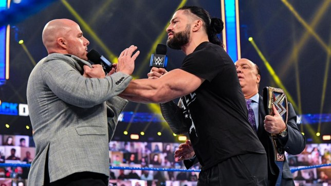 WWE superstars Adam Pearce and Roman Reigns on SmackDown