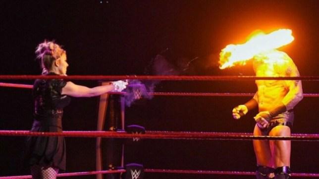 WWE superstars Alexa Bliss and Randy Orton on Raw