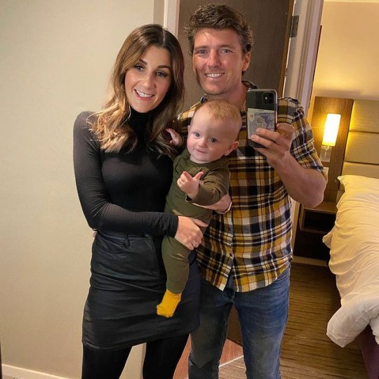 Benidorm star Asa Elliott with wife Natalie and son