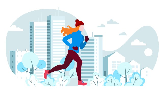 Winter running. The girl runs on a winter evening in the city Park, trees. bushes in the snow. On the background of the house with Windows. Banner, poster, card, healthy lifestyle. Vector Illustrtion.