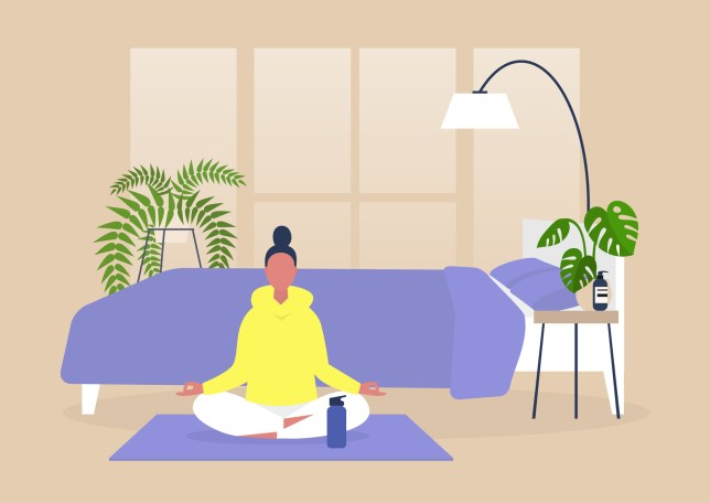 Young female character practising yoga and meditation at home, mindfulness, modern millenial lifestyle