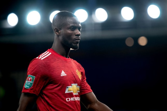 Eric Bailly of Manchester United looks on during the Carabao Cup Quarter Final match between Everton and Manchester United at Goodison Park on December 23, 2020 in Liverpool, England.