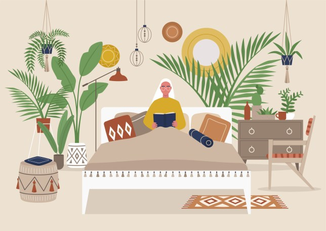 Young female character reading a book in bed, cozy detailed boho style bedroom interior, millennial lifestyle