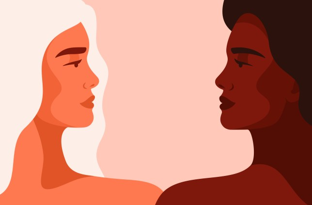 an illustration of young women are looking face to face.