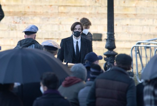 Robert Pattinson filming for The Batman
