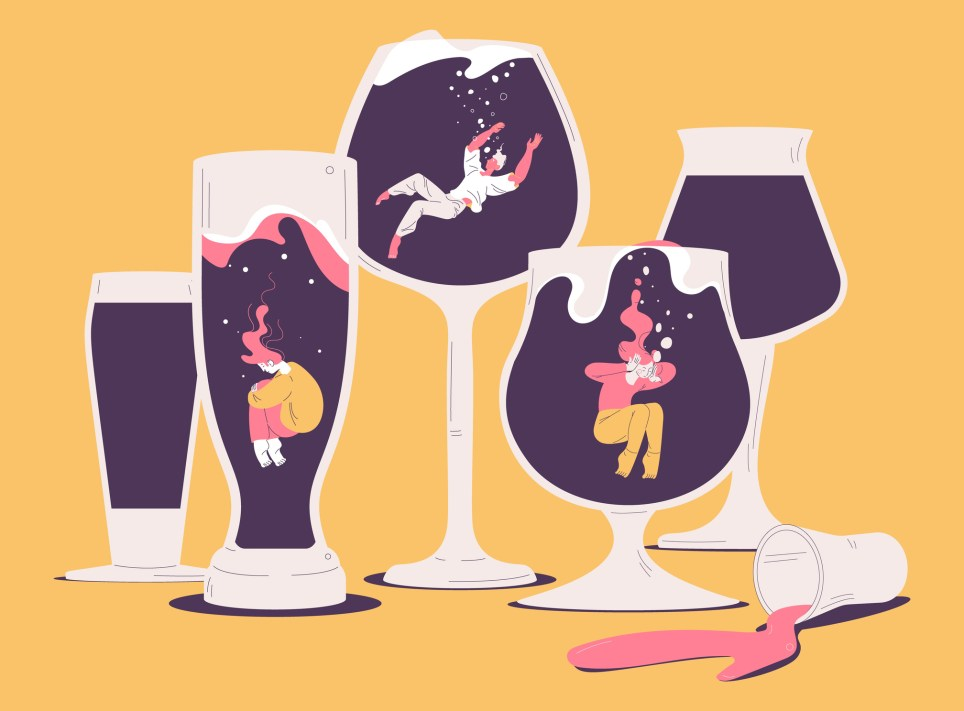People suffering from hard drinking. Concept illustration with depressed characters sink in various alcohol glasses. Alcoholism effects