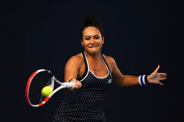 Heather Watson plays a forehand shot during their round robin match against Francesca Jones during Day Four of the Battle of the Brits Premier League of Tennis at the National Tennis Centre on December 23, 2020 in London, England.