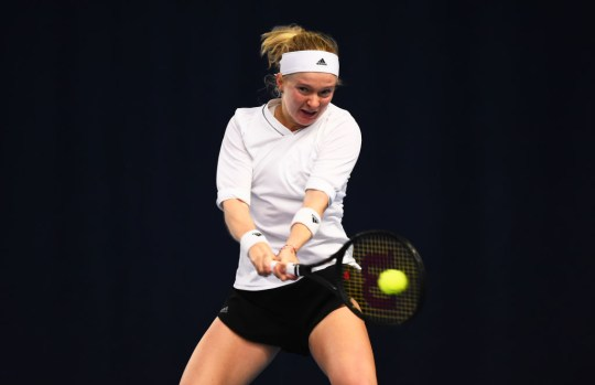 Francesca Jones plays a backhand shot during their round robin match against Heather Watson during Day Four of the Battle of the Brits Premier League of Tennis at the National Tennis Centre on December 23, 2020 in London, England.