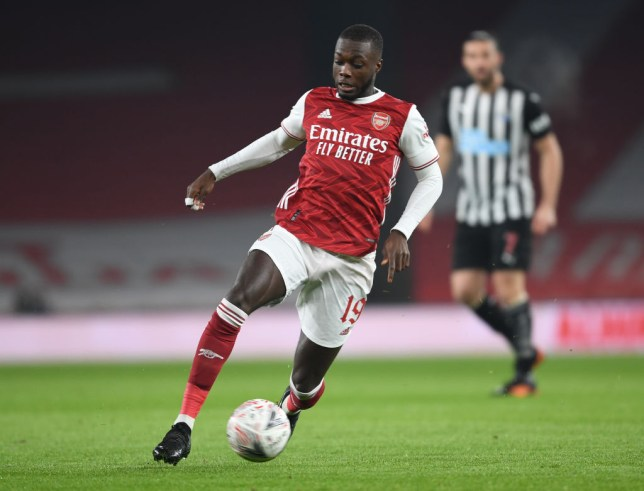 Nicolas Pepe runs with the ball during Arsenal's FA Cup win over Newcastle United