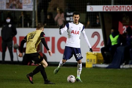 Dele Alli runs with the ball during Tottenham's FA Cup win over Marine