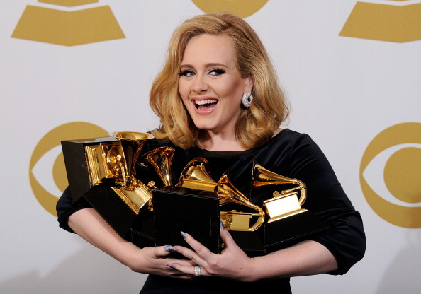 Adele with Grammy Awards in 2012