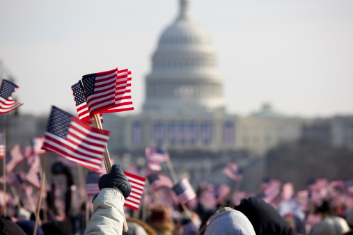 American flags outside US Capitol Building