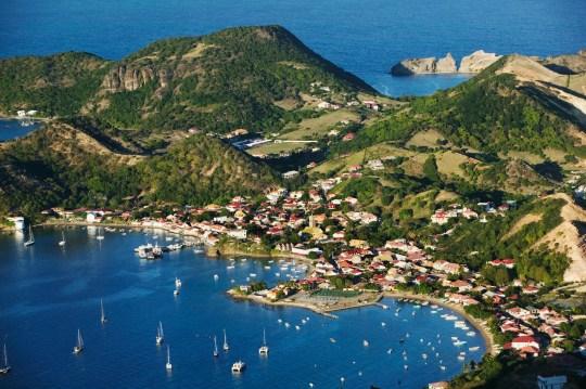 Caribbean, Guadeloupe, lles des Saintes, Terre de Haut, aerial view