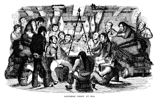 An engraving of a group of sailors sat in a circle singing. The caption reads Saturday night at sea