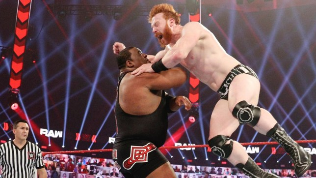 WWE superstars Keith Lee and Sheamus on Raw