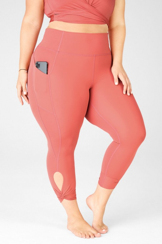 Oasis high waisted twist leggings in coral