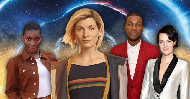 Doctor Who's Jodie Whittaker next to Michaela Coel, John Boyega and Phoebe Waller-Bridge