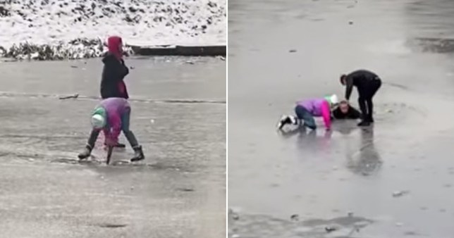 Friends rescued a man after he fell through thin ice