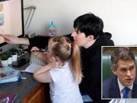 Charlotte Rose helps her child in Milton Keynes and Education Secretary Gavin Williamson