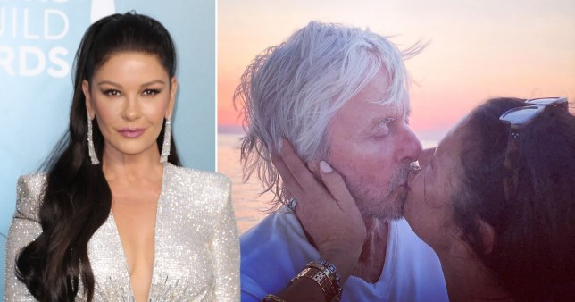 Catherine Zeta-Jones at SAG Awards and kissing Michael Douglas