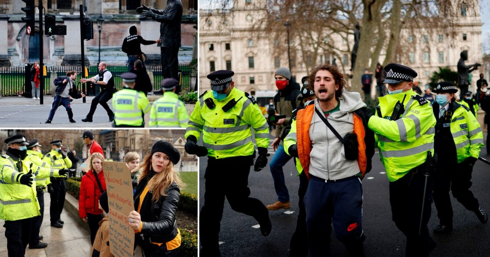 Composite image anti lockdown protest