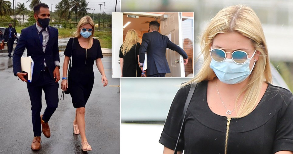 Zara Holland arrives at court in Barbados