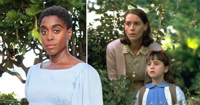 Lashana Lynch, Embeth Davidtz as Miss Honey, and Mara Wilson as Matilda