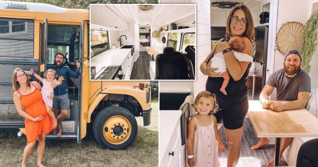 gianna and Jake Bachowski with their children in their converted school bus home
