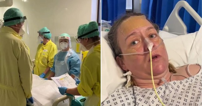 NHS staff in PPE and Allie Sherlock with tubes in her nose. The mum filmed a plea from her bed at Gloucestershire Royal Hospital begging people to take coronavirus seriously and follow government guidance.