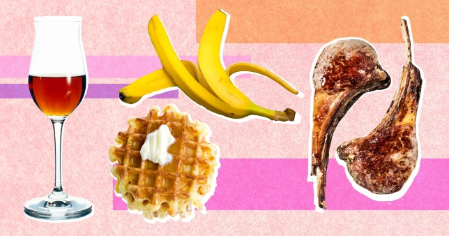 bananas, waffles, mutton and sherry on colourful background