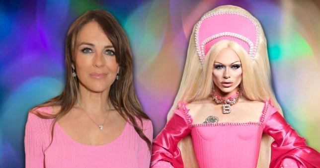 Liz Hurley flirts with sexy Drag Race star